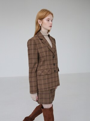 HERRINGBONE-CHECK JACKET - BROWN
