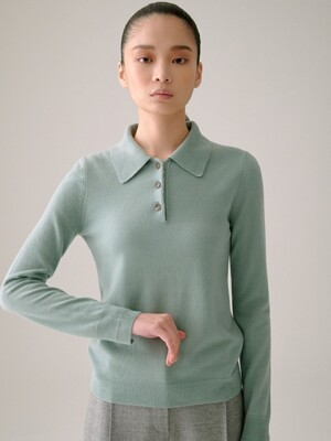 MINT PURE CASHMERE COLLAR KNIT TOP