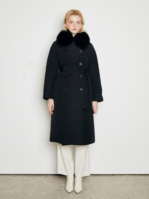 [Premium] FOX FUR TRENCH GOOSE DOWN COAT_BLACK