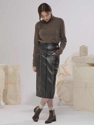 COLOR LINING FAKE LEATHER LONG SKIRT BLACK