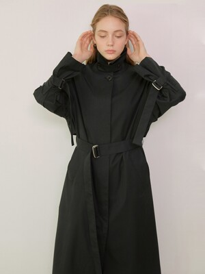 MIA_Single Breasted Long Trench Coat_Black