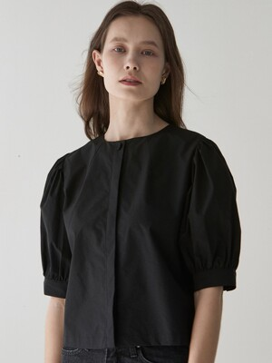 ouie325 halfsleeve puff blouse (black)