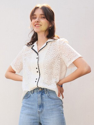 monts 1105 colourway lace blouse (ivory)