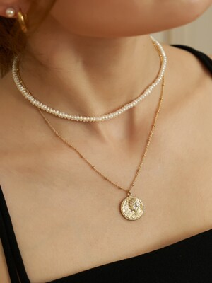 BALL CHAIN BASIC COIN NECKLACE (DEESSE C)_NZ0998