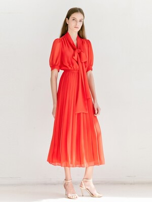 SOPHIE V-neck button down detail pleated maxi dress (Tomato Red)