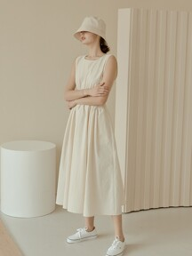 Basic Shirring Sleeveless Dress[Ivory]
