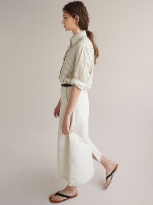 A-line stitch skirt (Cream)