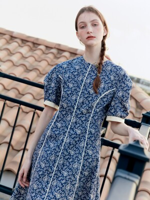POSITANO Bishop short sleeve dress (Navy Paisley)
