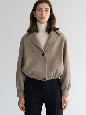 CROPPED-HEM WOOL-BLEND JACKET (KHAKI)
