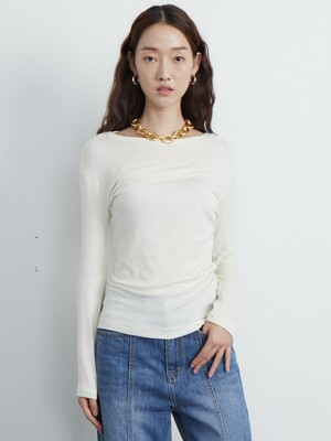Wool knit top_ivory
