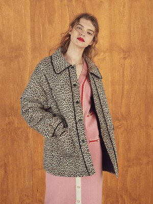 PIPING PADDED JUMPER - LEOPARD