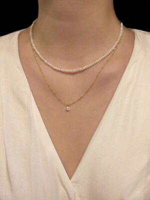 [2SET]simple dot chain pearl & mini daily pearl necklace