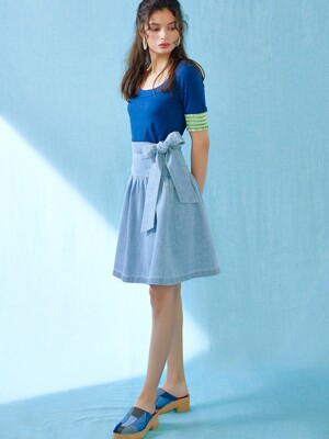Ribbon strap denim skirt