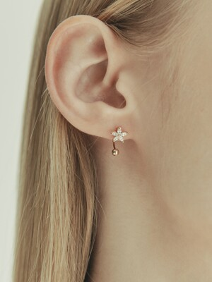 [단독] 14k gold marquise cut U hook flower piercing (14k 골드) b09