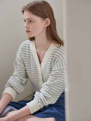 21SN basic stripe cardigan [M/GY]