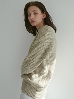 Boucle Ribbed Sweater (Beige)
