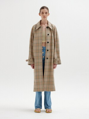 SELISSA Mac Coat - Beige Check
