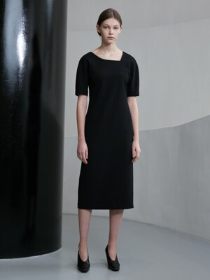 ASYMMETRICAL NECK DRESS BLACK UDDR0E201BK