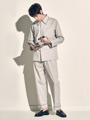 (M) Woody PJ Set Poplin Light Grey