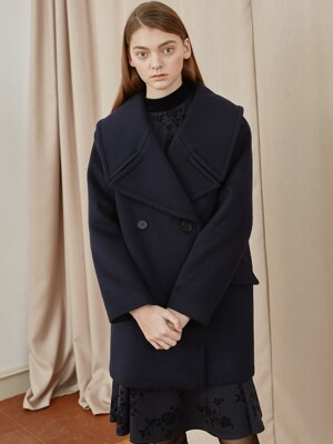 wool half coat-navy