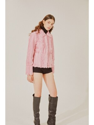 Faux fur jacket(Pink)