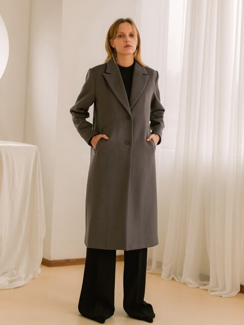 Single Button Coat - Gray