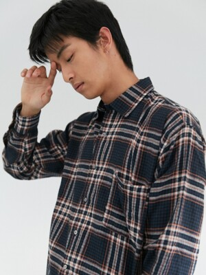 W Relax Check Shirts Navy