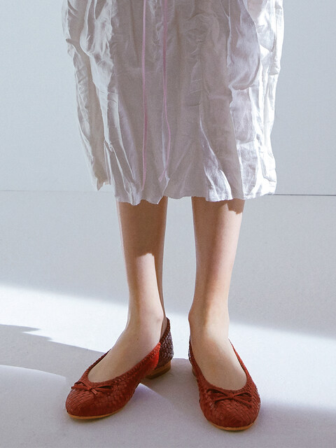 WEAVING LEATHER FLATS_RED