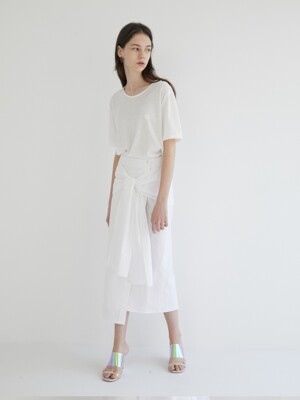 19' SUMMER_White Shirts layered Skirt