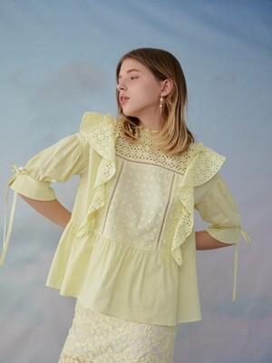 Cotton lace mixed blouse (Yellow)
