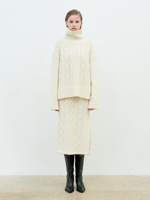 Knit Twisted Skirt [Cream]