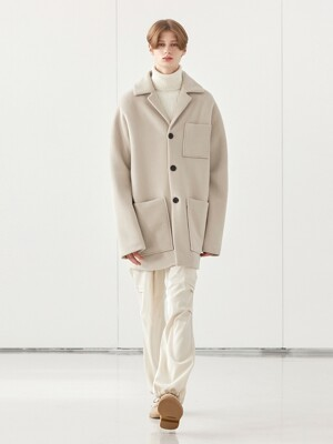 WOOL SLEEVE HALF COAT_CREAM