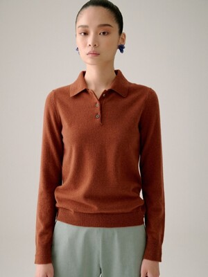 BROWN PURE CASHMERE COLLAR KNIT TOP