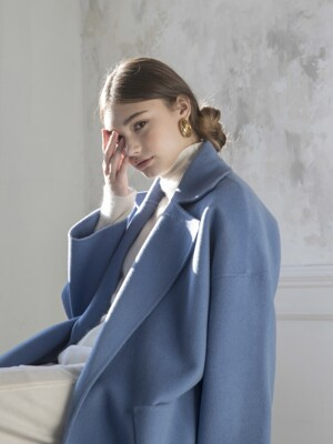 Premium handmade wool vivid coat [SKYBLUE]