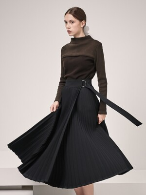 Rita Pleats Wrap Skirt_Black