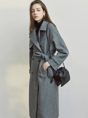 WOOL TRENCH LONG COAT_GRAY