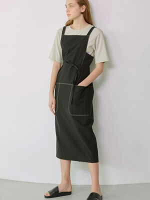 BONNIE_Contrast Stitch Overall One piece_Black