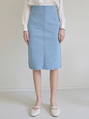 HIGH WAIST H MIDI-SKT_DENIM