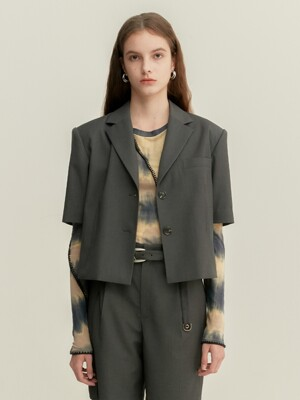 SCALA CROPPED BLAZER awa333w(CHARCOAL)