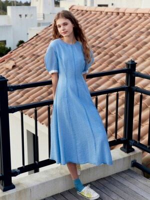 POSITANO Bishop short sleeve dress (Powder blue)