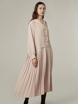 Slow pleats dress - Nude pink