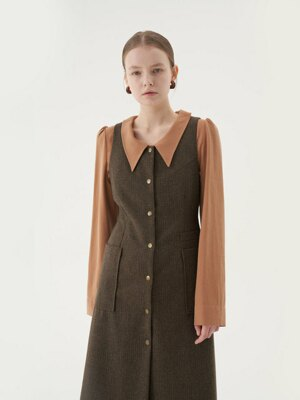 20' Fall_Brown Check Button Down Dress