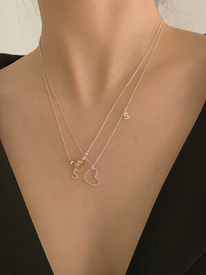 [단독]deep is your two hearts necklace (Silver 925)