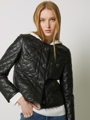 QUILTING ECO-LEATHER JACKET BLACK (AEJU1E002BK)