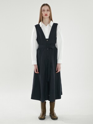 [PREMIUM] BELTED LAYERED DRESS DARK NAVY (AEDR1E002N2)