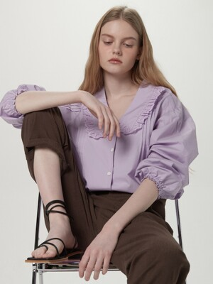 Ruffled collar blouse - Light purple