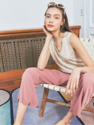 [BREEZE] Scallop Bending Wide Pants_PINK (CTD1)