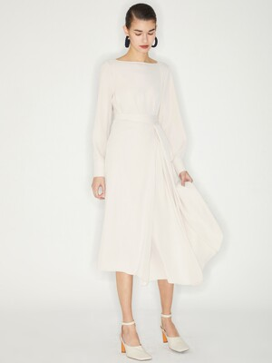 BOAT NECK WRAP DRESS_IVORY