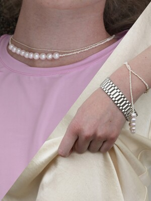 [2SET][단독] The mixed pearl necklace+ME watch bracelet (2color)