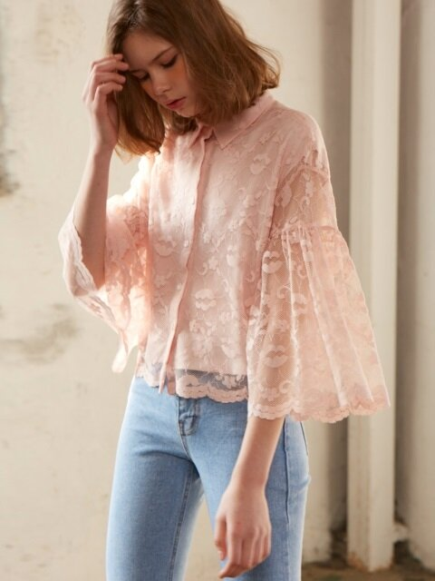 lace shirring blouse_pink